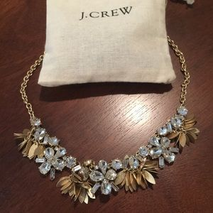 New J Crew Crystal Bouquet Necklace Dust Bag